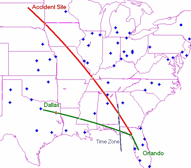 Lear Jet N47BA Flight Path After Becoming Hypoxic