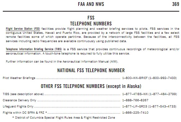 FAA and NWS Telephone Numbers (A/FD)