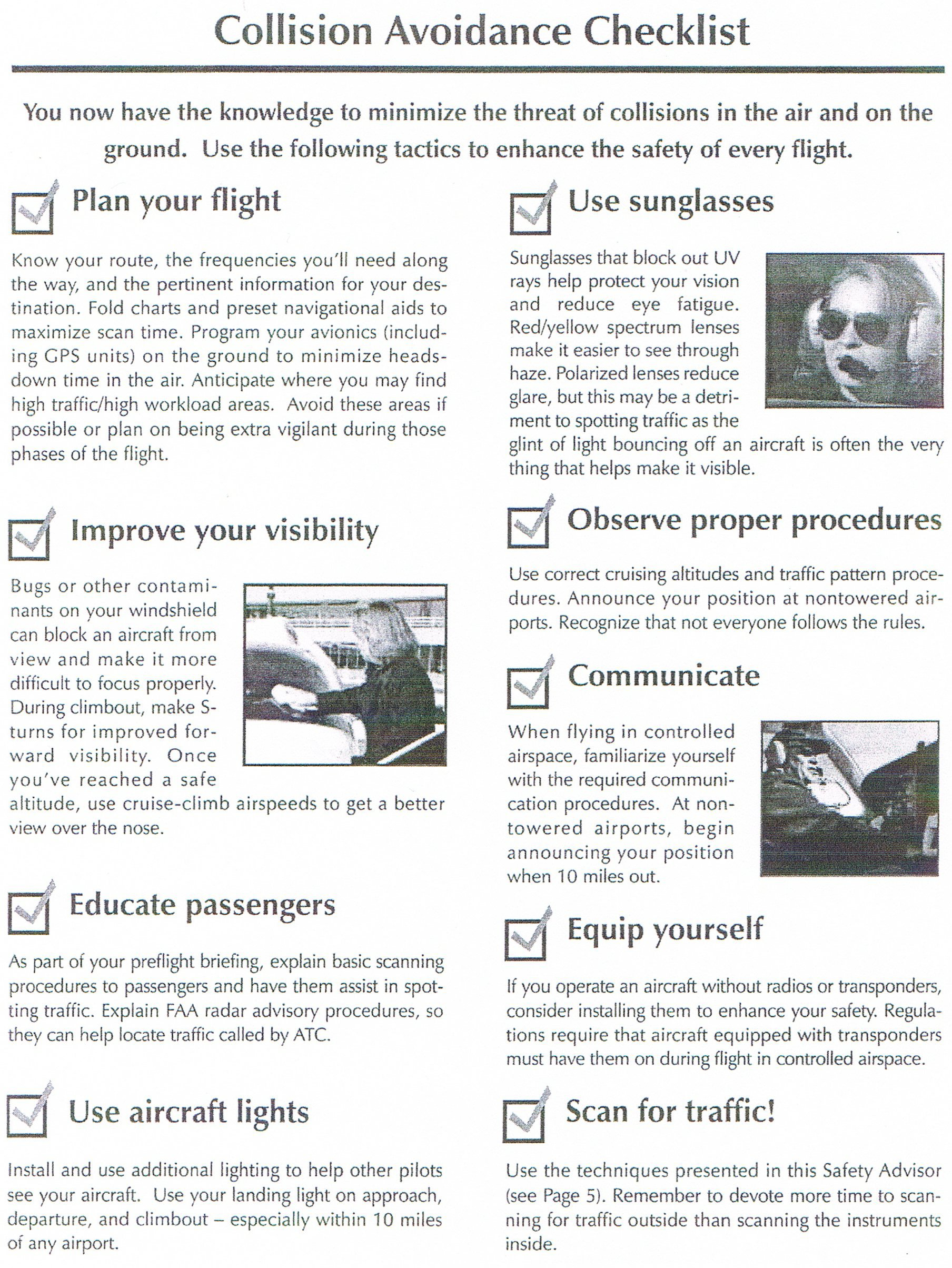 Collision Avoidance Checklist