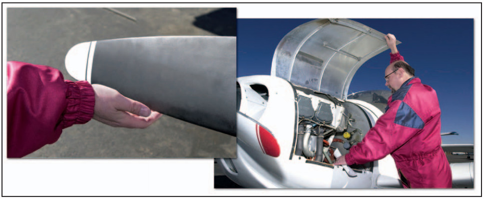Airplane Flying Handbook, Check the Propeller and Inside the Cowling