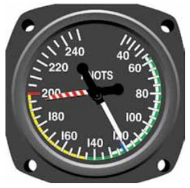 Instrument Flying Handbook. Figure 3-14, A maximum allowable airspeed indicator has a movable pointer that indicates the never-exceed speed, which changes with altitude to avoid the onset of transonic shock waves