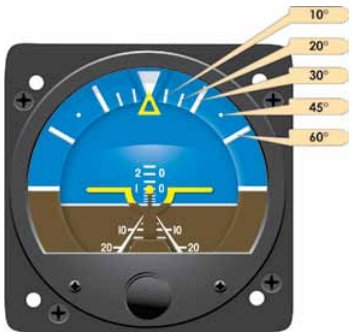 Instrument Flying Handbook. Figure 3-30, The dial of this attitude indicator has reference lines to show pitch and roll