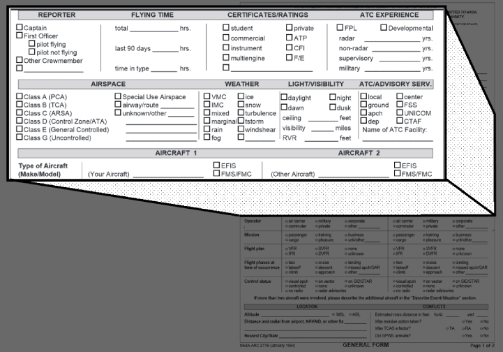 Aviation Safety Reporting Program Form Example