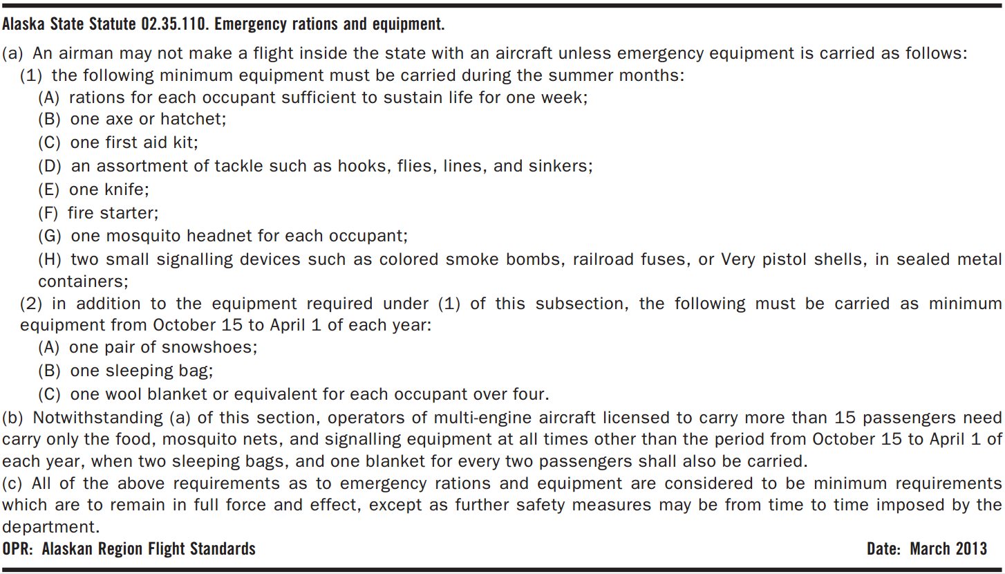 Alaska State Statute 02.35.110. Emergency Rations and Equipment