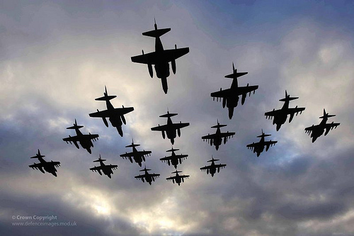 Sixteen Harrier Aircraft Fly in Formation to Mark Retirement from Service (UK)