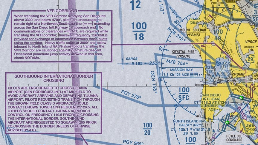 VFR Corridor and Border Crossing Routes, San Diego