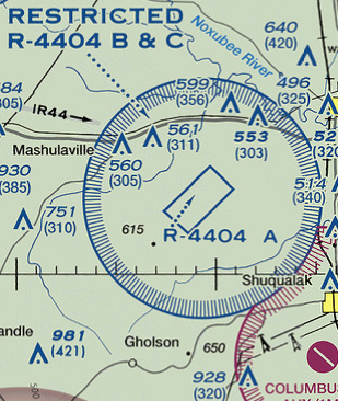 Special Use Airspace - Prohibited airspace map