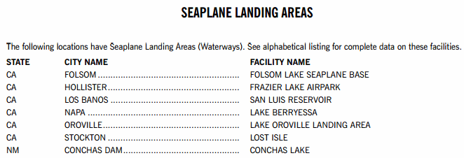Seaplane Landing Areas