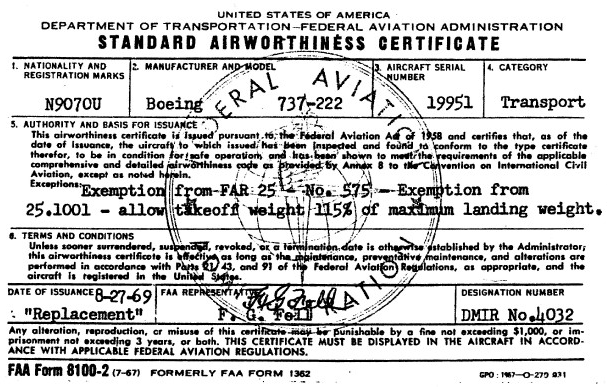 Standard Airworthiness Certificate