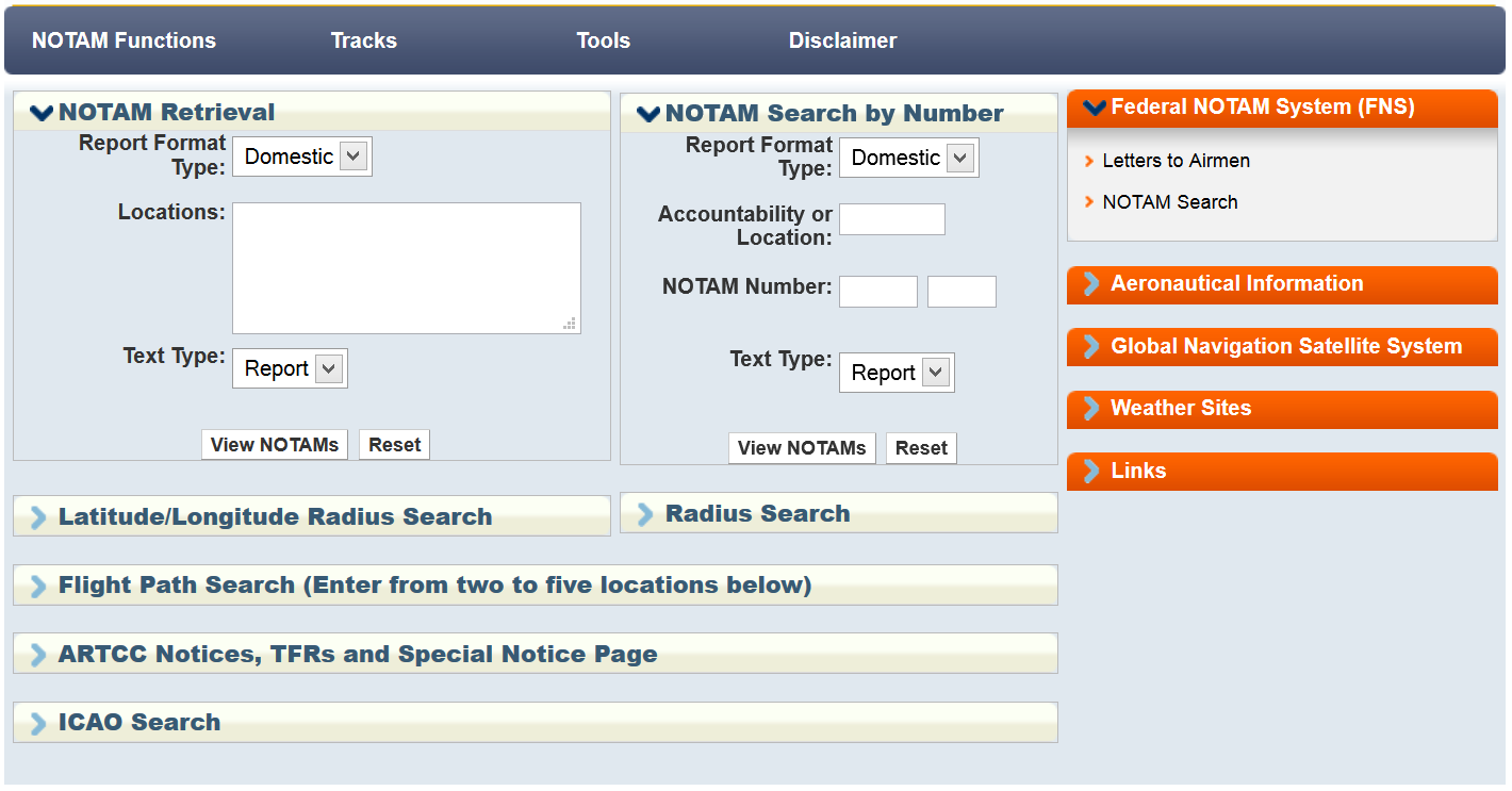 Federal Aviation Administration: NOTAM Search