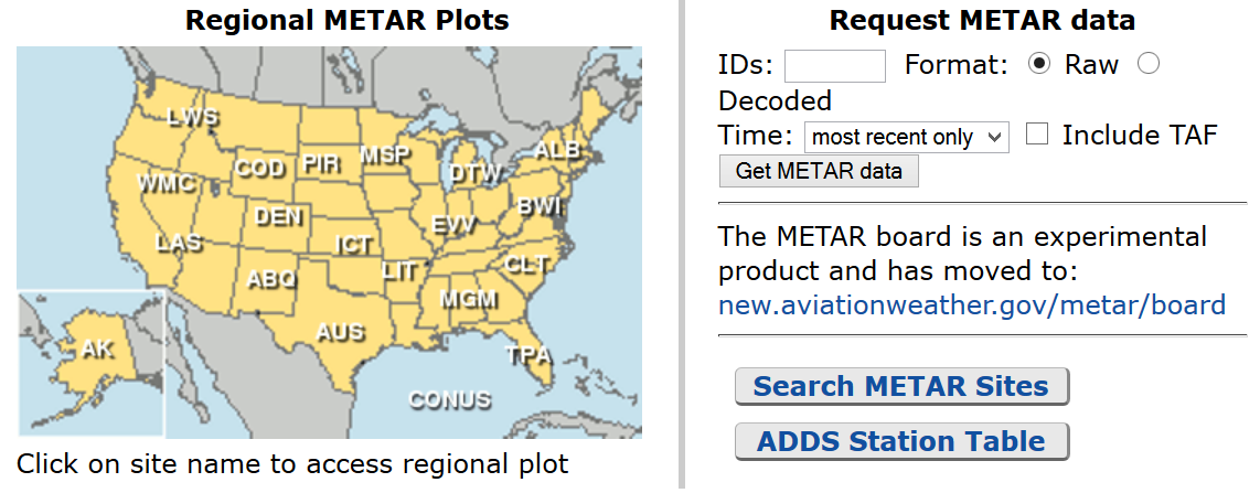 Aviation Weather.gov Raw or Translated METAR Option