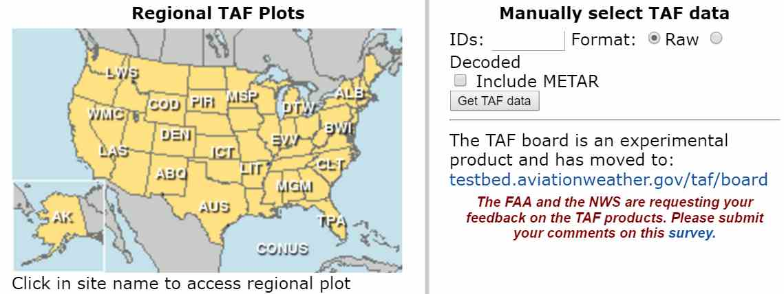 AviationWeather.gov Raw or Translated TAF Query